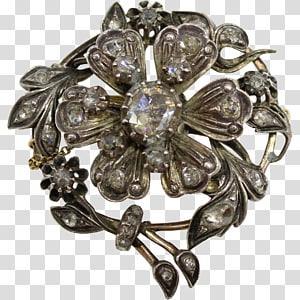 Brooch Jewellery Silver Diamond Antique, brooch PNG