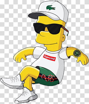 Bart Simpson Lisa Simpson Homer Simpson Supreme Homer vs. Lisa and the 8th Commandment, Bart Simpson, Bart Simpson wearing white Supreme shirt and white Lacoste cap PNG