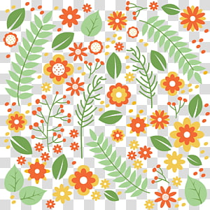 orange flowers , Flower Leaf Pattern, material cartoon flowers seamless background PNG clipart