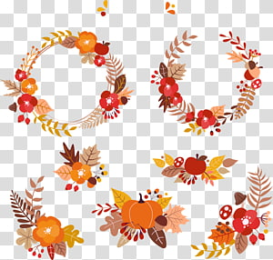 red-brown-and-black floral wreath , Autumn leaf color Euclidean , autumn leaves PNG clipart