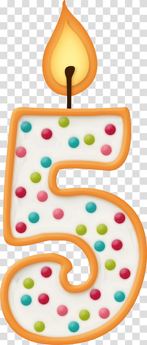 Number 5 birthday cake candle, Birthday Personal identification number Candle Anniversary, 5 Word Creative Word PNG clipart
