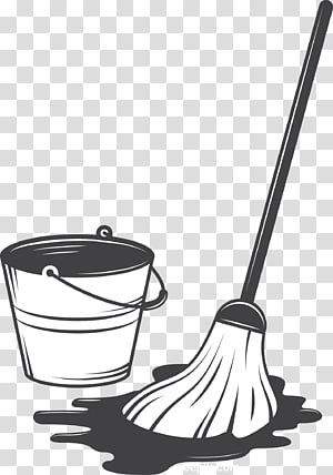 mop and bucket , Cleaning Tool Illustration, Mop and bucket PNG clipart