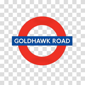 goldhawk road text on blue rectangle and red circle background, Goldhawk Road PNG