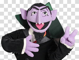 Dracula plush toy, Sesame Street Count Von Count Peace Sign PNG
