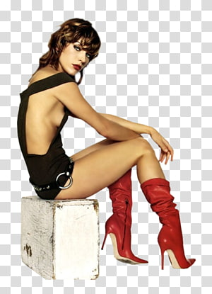 Milla Jovovich Shoe Supermodel Pin-up girl Thigh, milla jovovich PNG clipart