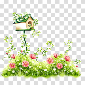 Flower , Hand-painted flowers, birdhouse above red flowers illustration PNG