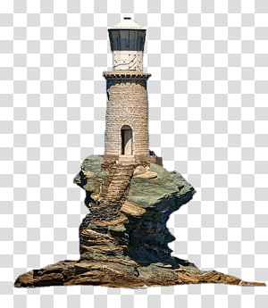 beige and white lighthouse, Lighthouse on Rock PNG