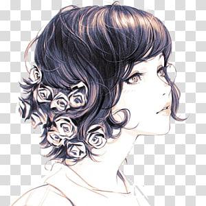 woman in white shirt illustration, Artist Work of art Drawing, Fresh black hair girl PNG clipart