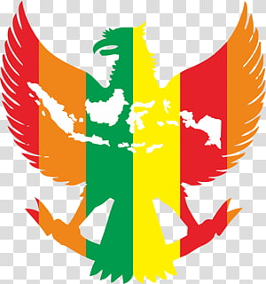 yellow, red, green, and orange eagle illustration, National emblem of Indonesia Pancasila Garuda Bhinneka Tunggal Ika, vektor PNG clipart