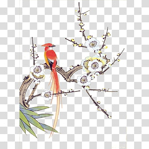 Chinese painting Gongbi Bird-and-flower painting Ink wash painting, Birds and Flowers PNG