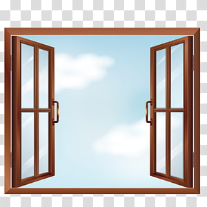 brown casement open window, Window , open windows PNG clipart