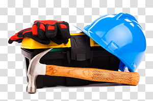 hard hat, red and black gloves and claw hammer tool kit, Tool Laborer Designer, Renovation work tool PNG