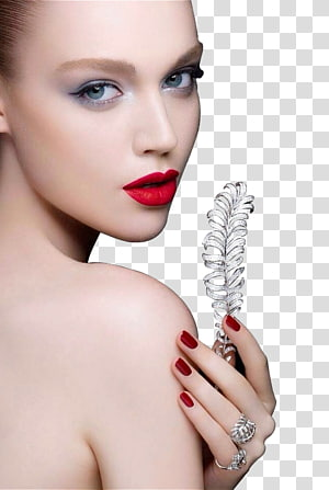 woman holding leaf, Face Make-up Close-up Lip, Fashion makeup female face closeup PNG