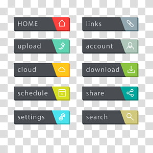 assorted icons illustration, Web button World Wide Web Menu bar, menu bar PNG clipart