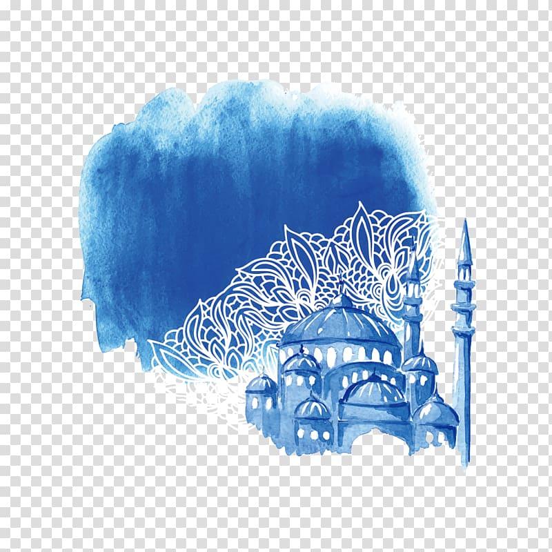 brown mosque illustration, Ramadan Watercolor painting Drawing Illustration, Watercolor Castle PNG clipart