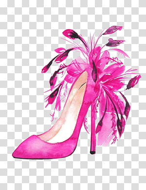 pink stiletto illustration, Shoe Fashion illustration High-heeled footwear Watercolor painting Illustration, Feather Shoes PNG clipart