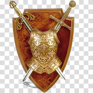 gold-colored armor and two sword , Middle Ages Knight Shield Sword, Medieval sword and shield PNG