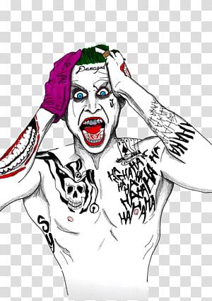 Jared Leto as The Joker illustration, Joker Batman and Harley Quinn Batman and Harley Quinn Art, joker PNG