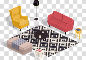Living room Isometric projection Interior Design Services, Living room sofa renderings PNG