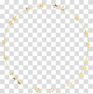 golden star three-dimensional circular decorative borders PNG