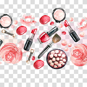 Lip balm Cosmetics Lipstick Beauty Parlour Cosmetic packaging, Makeup Background, red lipstick makeup brush and and palette artwork painting PNG clipart