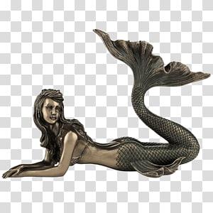Mermaid Figurine Bronze sculpture Statue, Mermaid PNG