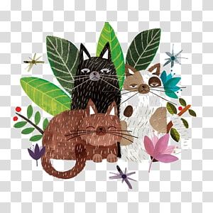 Illustrator Watercolor painting Work of art Illustration, Cartoon cat PNG
