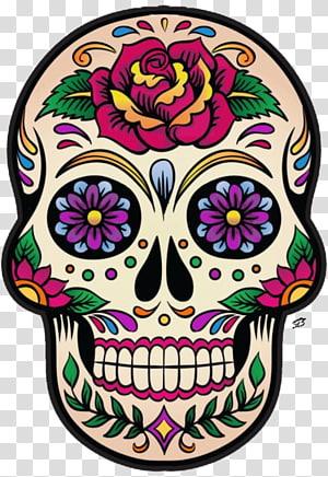 Day of the Dead skull illustration, La Calavera Catrina Mexico Skull and crossbones Day of the Dead, skull PNG