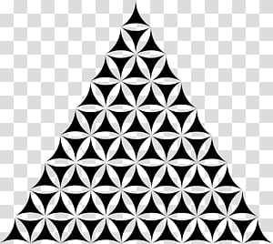 black triangle illustration, Sacred geometry Triangle Overlapping circles grid, Colourful Triangles Number PNG