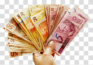 person holding assorted banknote lot, Brazilian real Money Banknote, Brazilian Real Currency PNG clipart