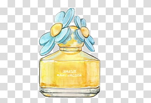 Daisy fragracne bottle illustration, Perfume Chanel Watercolor painting Drawing Illustration, perfume PNG clipart