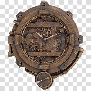 brown mechanical clock, Steampunk fashion Clock Science Fiction Pocket watch, steampunk gear PNG