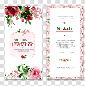 Wedding invitation Watercolor painting Flower, lace wedding invitations, Mary & John wedding invitation letter PNG