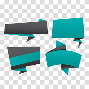 Banners, green and gray abstract PNG clipart