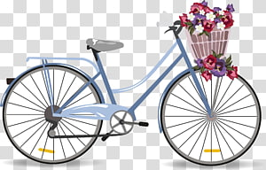 bouquet of flowers in basket of bicycle , Bicycle illustration Illustration, Purple lady bike PNG