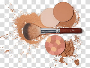 brown and silver makeup brush and brown powder, Makeup PNG clipart