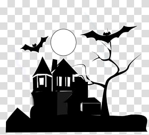 Black and white Haunted house , artclassblackandwhite PNG