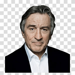 man in white collared top, Robert De Niro Portrait PNG
