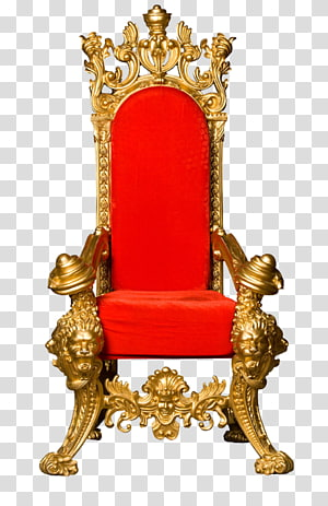 Throne King Chair , Red back gold frame kingdom, black and red armchair PNG