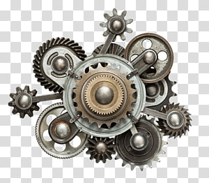 gray metal engine parts illustration, Gear Mechanical Engineering Illustration, Metal Gear operation PNG clipart