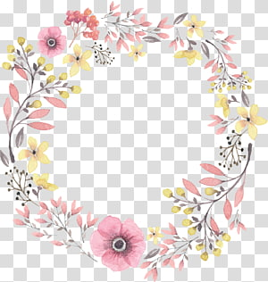 hand painted watercolor wreaths PNG clipart