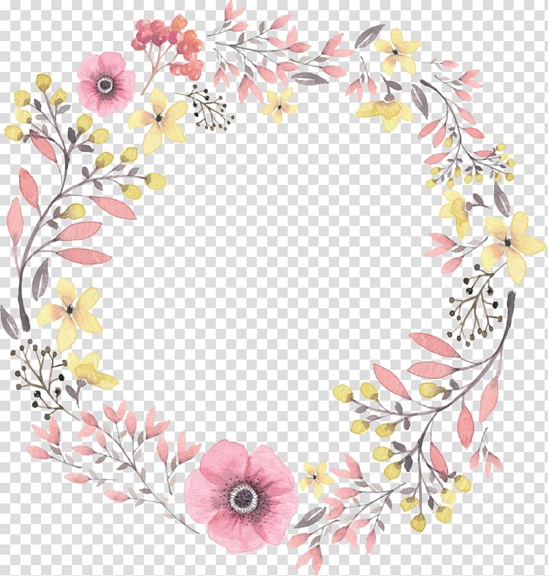 hand painted watercolor wreaths PNG