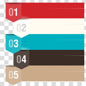 five assorted-color lines art, Infographic Information , PPT element PNG