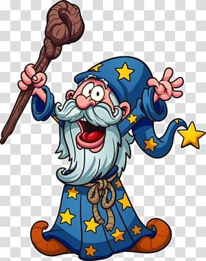 The Wizard Magician Cartoon Illustration, Cartoon wizard PNG clipart