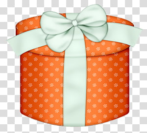 orange and white gift box , Box Gift wrapping , Orange Round Gift Box with White Bow PNG clipart
