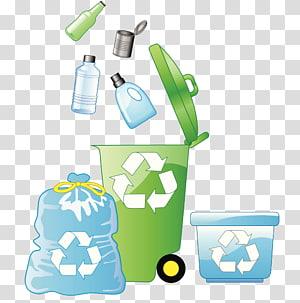 green wheelie bin and plastic bottles illustration, Plastic bag Paper Recycling Waste Bin bag, Plastic recycling trash can PNG