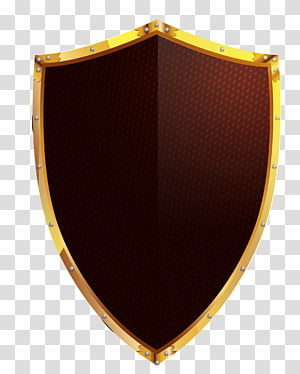 brown and gold-colored shield , Shield Euclidean Icon, hand-painted golden shield PNG