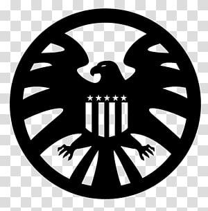 Nick Fury Phil Coulson S.H.I.E.L.D. Marvel Cinematic Universe Logo, black shield PNG