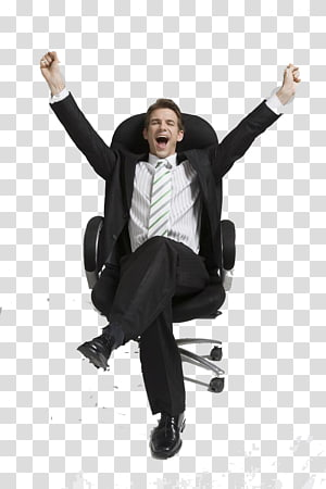 man sitting on black rolling chair, Office Chair Computer file, business man PNG