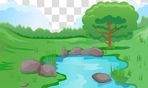Pond Illustration, Forest PNG clipart